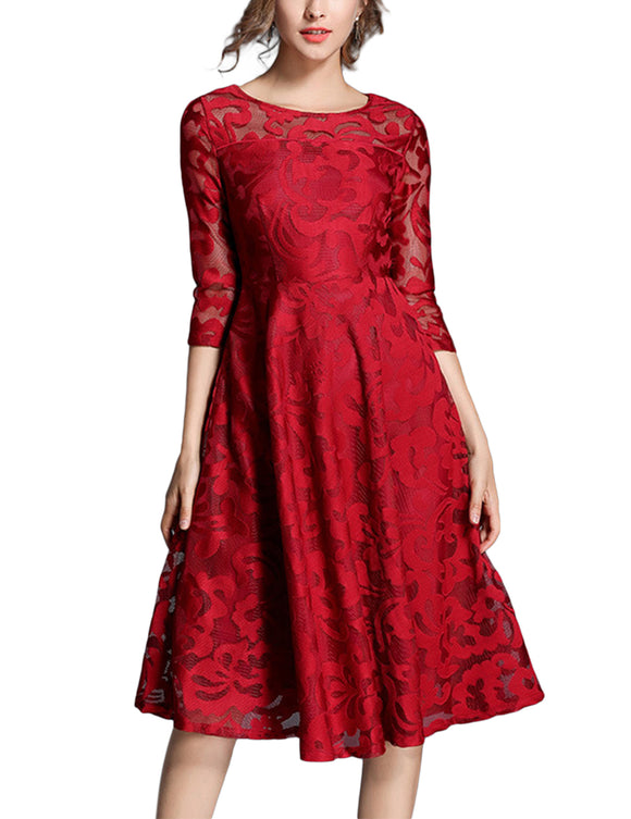 Women Fashionable Slim Design Round Collar Lace Dress Big Hem Three Quarter Sleeve Dress