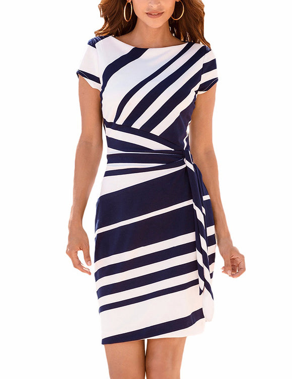Stylish Striped Round Neck Short-Sleeve Dress with Waist Knotted Band Casual Skirt Gift