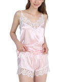 Female Sexy V-neck Lace Pajamas Suits (Sleeveless Strap Tops + Pants)