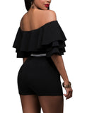 Women Fashion Sexy Slim Off Shoulder Tops Ruffle Solid Color One-piece Short Siamese Pants
