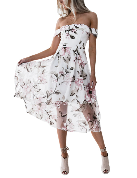 Women Fashion Off Shoulder Dress Flower Printing 2 Layer Perspective Dress