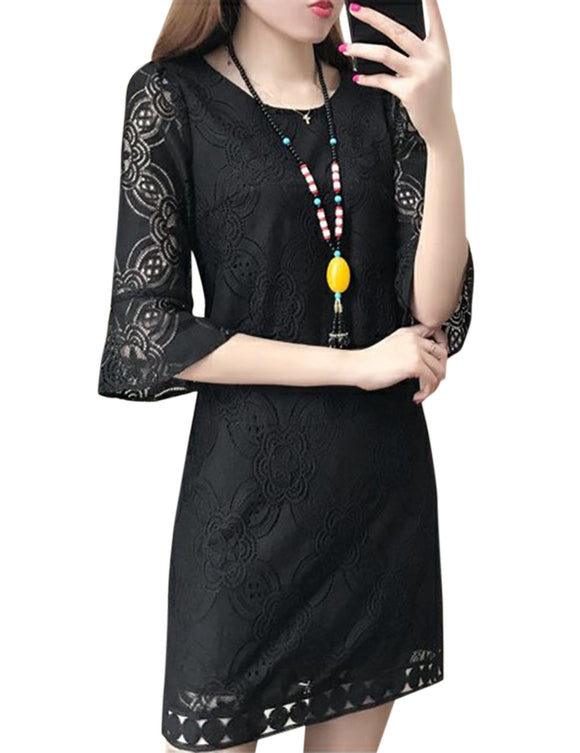 Women Fashion Round Neck Three Quarter Sleeve Lace Dress Elegant Solid Color Dress-Black