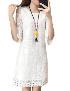 Women Fashion Round Neck Three Quarter Sleeve Lace Dress Elegant Solid Color Dress-White
