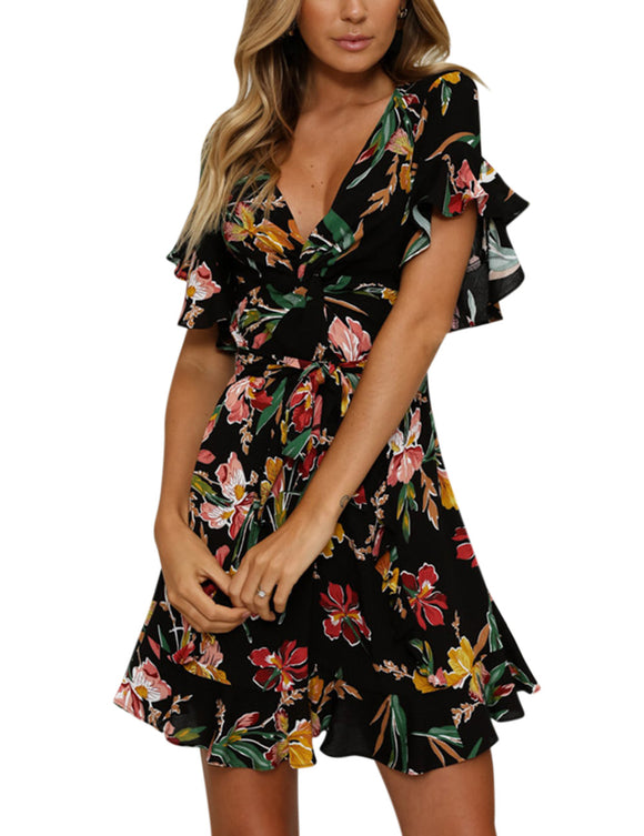Fashionable Women Mandarin Sleeve Printed Dress Sexy Medium Style Skirt Gift Party Beach Wear