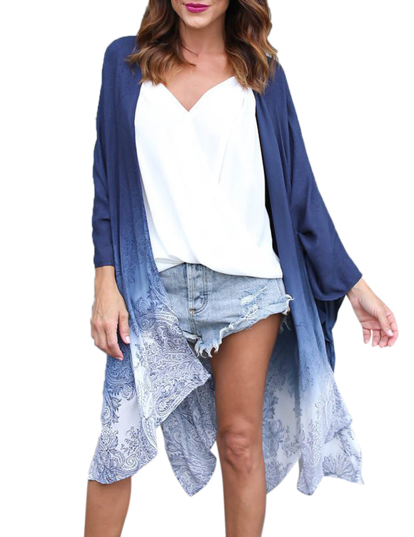Women Stylish Gradual Change Printed Fashion Blouse Sun Blocked Kimono