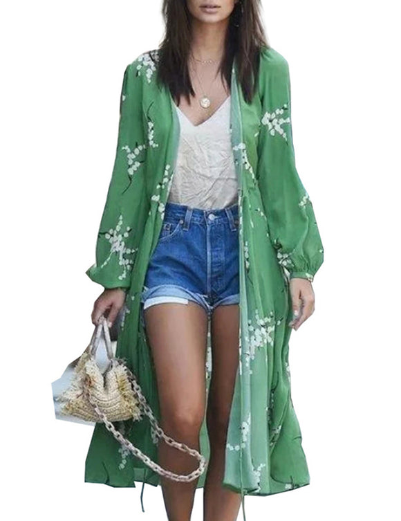 Women Stylish Floral Printed Blouse with Belt Long Sun Blocked Kimono