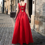 Women Slim Design Solid Color Elegant Long Dress Sleeveless Backless Sexy Dress