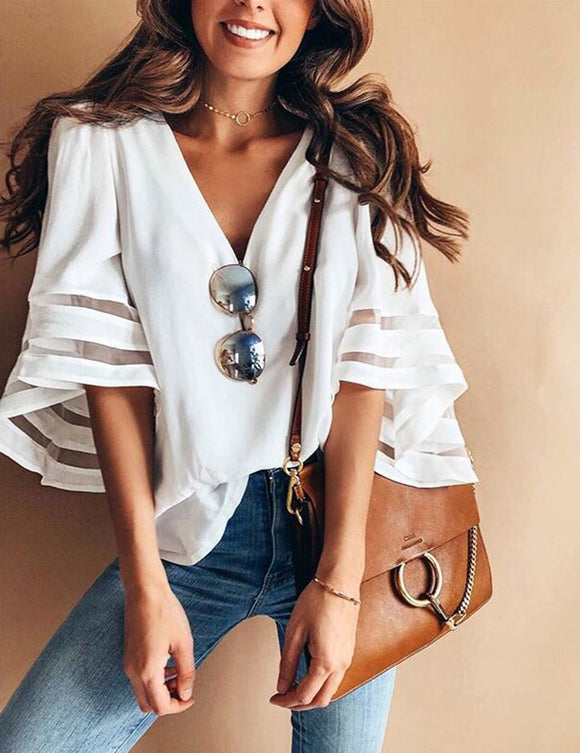 Women Fashionable V-neck Loose Type Gauze Stitching Top Unique Style Blouse