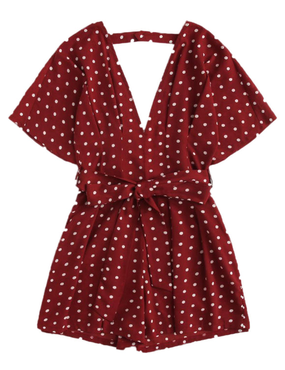 Solid Sexy Deep V Neck Polka Dot Short Sleeve Romper for Women