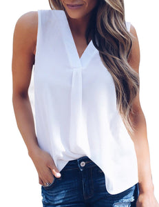 Women Stylish Sexy V-neck Solid Color Vest All-match Sleeveless Chiffon Tops