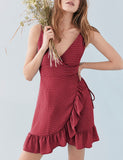 Sexy Women V-neck Ruffled Dress with Irregular Skirt Hemline Gift Beach Wear