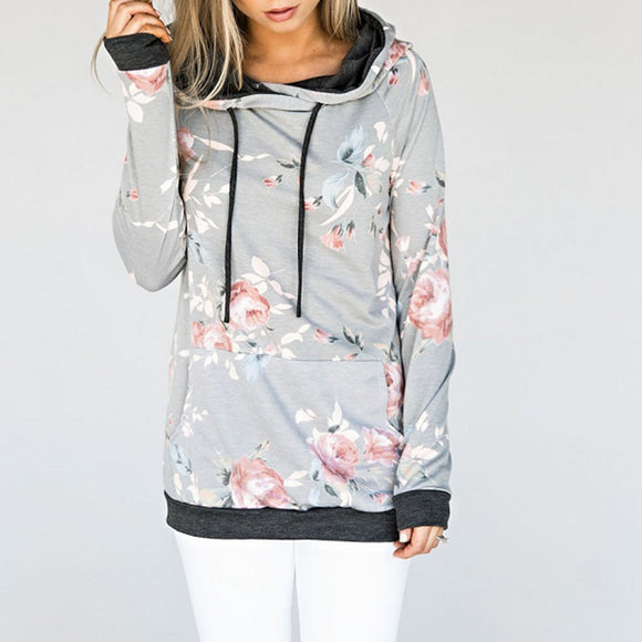 Women Elegant Chic Flower Printing Sweatshirt Hooded Long Sleeve Tops