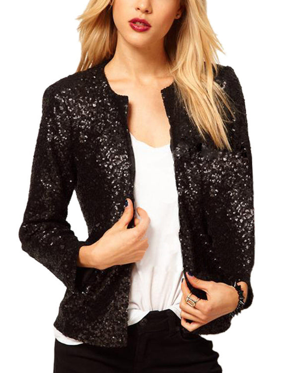 Women Fashion Round Collar Long Sleeve Casual Coat Sequins All-match Tops Suit
