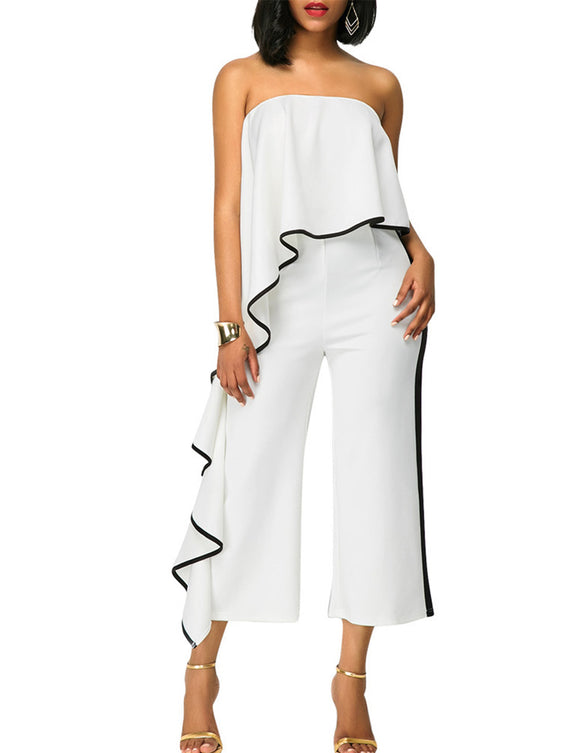 Women Fashionable Sexy Off-shoulder Loose Jumpsuits Delicate Wide Legs Pants