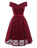 Women Sexy Boat Neck Collar Lace Dress Elegant Backless Bowknot Dress