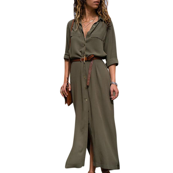 Women Fashionable Long Dress Sexy Long Sleeve Party Dresses Leisure Shirt Dress