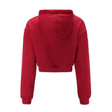 Women Fashion Solid Color Long Sleeve Sweatshirt All-match Chic Short Hooded Tops