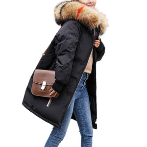 Women Warm Cotton Padded Jacket Fashionable Plush Collar Hooded Winter Coat-Black