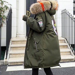 Women Warm Cotton Padded Jacket Fashionable Plush Collar Hooded Winter Coat-Army Green