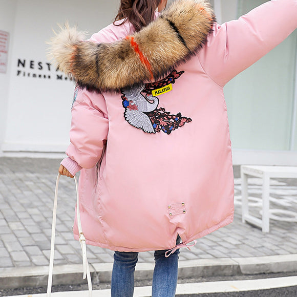 Women Warm Cotton Padded Jacket Fashionable Plush Collar Hooded Winter Coat-Pink