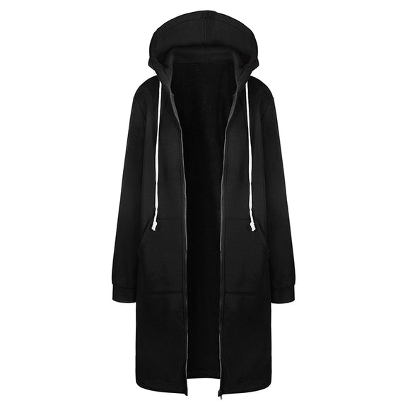 Women Autumn Winter Coat Casual Long Sleeve Zipper Hooded Jacket Hoodies Sweatshirt