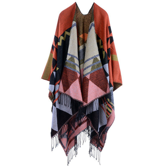 Bohemian Tassel Lengthened Thickened Imitation Cashmere Ethnic Wind-proof Travel Cape