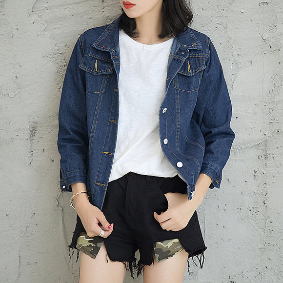 Women Denim Jacket Preppy Style Long Sleeve Denim Coat Loose Fit Top