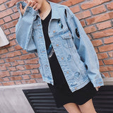 Women Ripped Loose Denim Jacket Casual Long Sleeve Top Coat for Ladies