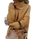 Women Long Sleeve Pullover Sweater High Collar Fashionable Knitted Top