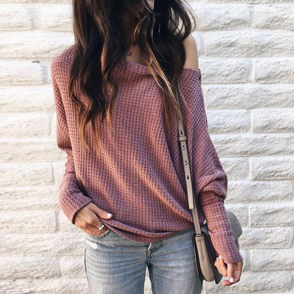 Women Pullover Long Sleeve Fashionable Off Shoulder Sweater Knitted Top