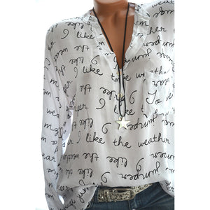 Women Casual Shirt V-Neck Letters Print Long Sleeve Fashionable Pullover Top