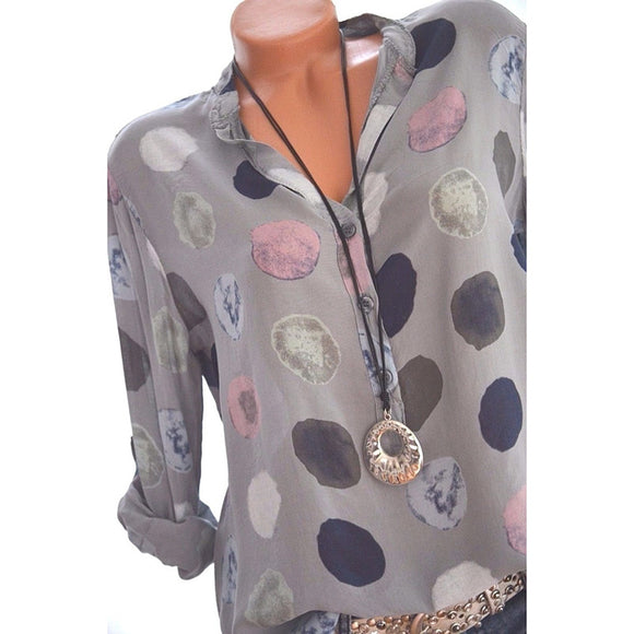Women Dots Print Chiffon Long Sleeve Shirt Fashionable Casual Pullover Top