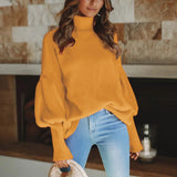 Women Fashion High Collar Solid Color Lantern Sleeve Pullover Sweater