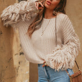 Women Tassels Cuffs Fringe Round Collar Thick Needle Knitting Solid Color Sweater