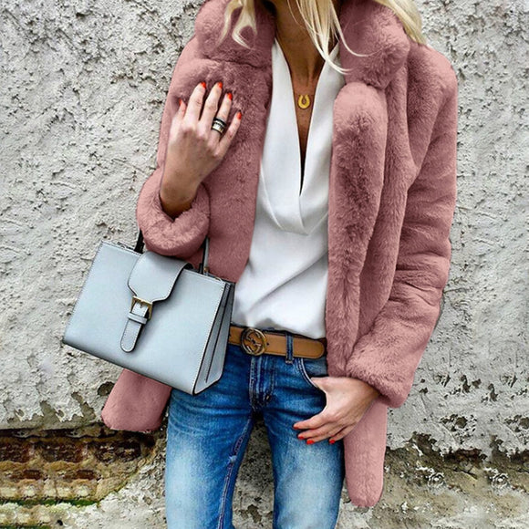 Women Furry Coat Solid Color Long Sleeve Lapel Soft Fleeced Jacket Outwear Top