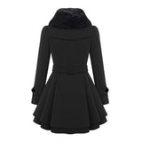 Women Slim Fit Medium Long Woolen Overcoat Double Breasted Windbreaker Overcoat-Black