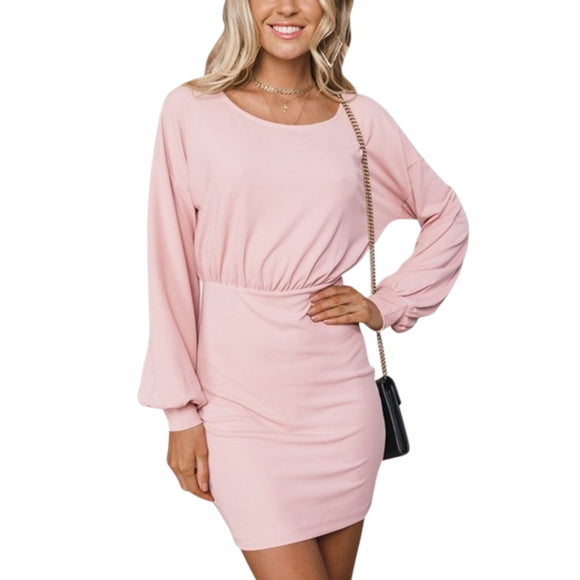 Women Back Zipper Round Collar Tight Waist Lantern Long Sleeve Solid Color Dress