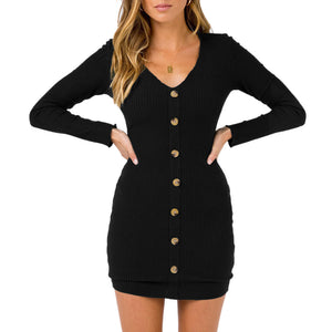 Women Sexy Slim Wrap Buttocks Dress Button V Neck Long Sleeve Skirt Outfits