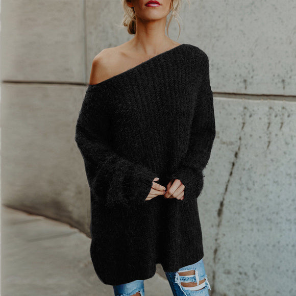 Women Fluffy Off Shoulder Sweater Jumper Baggy Long Sleeve Pullover Top