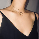 Women Generous Fashion Geometric Copper Beads Multi-layer Clavicle Chain