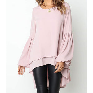 Women Long-sleeved Bubble Sleeves Irregular Bottoms Solid Color Blouse