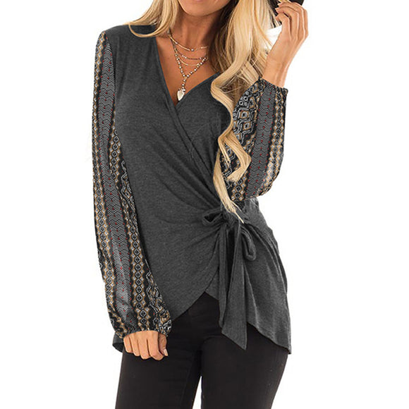 Women Fashion V-neck Slim Waistband Long Bubble Sleeve Casual Tops