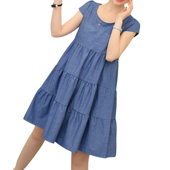 Women Solid Denim Color Loose Short Sleeve Dress