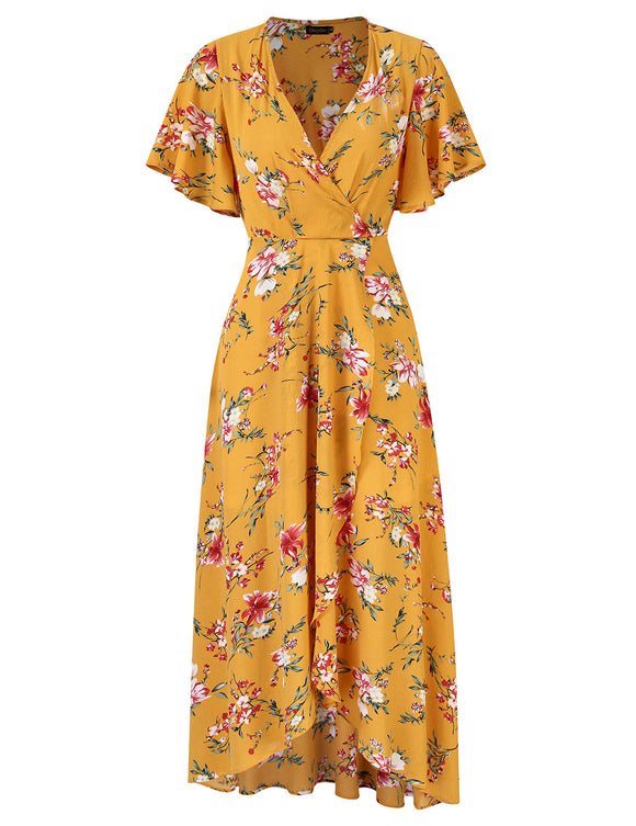 Women's Short Sleeve V-neck Wrap Chiffon Maxi Dress -yellow