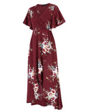 Women's Short Sleeve V-neck Wrap Chiffon Maxi Dress -wine red