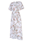 Women's Short Sleeve V-neck Wrap Chiffon Maxi Dress -white