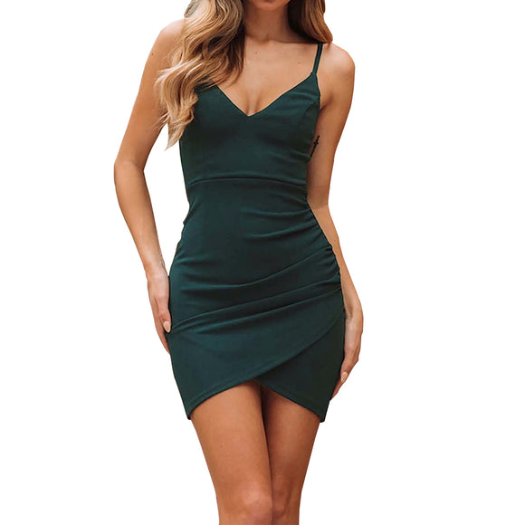 Ladies Sexy Slim V-neck Shoulder Strap Dress with Crossed Pleats