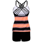 2pcs/set Women Sexy Gradient Color Large Size Bikini Suit- Orange