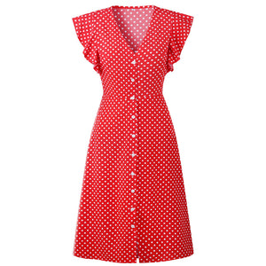 Women Summer Dot Printing Flouncing V Neck Dress