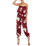Women Summer Off Collar Backless Printing Chiffon Jumpsuit